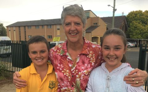 Lindsay with students of St Mary's Primary School.